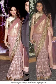Bollywood Actress Sonali Bendre Net saree in Pink colour