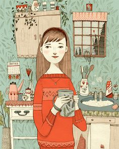 Girl in the kitchen illustration