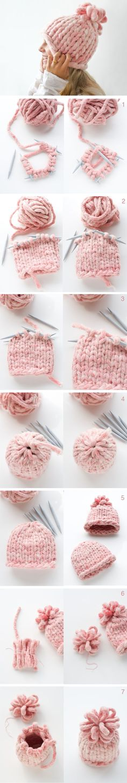 Comment #tricoter facilement un bonnet à mailles XXL, très tendance.: