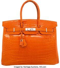Hermes 35cm Shiny Orange H Porosus Crocodile Birkin Bag with Palladium Hardware. K Square, 2007. Very GoodCondition...