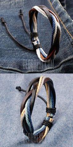 Retro Faux Leather Rope Twisted Bracelet For Men More #diysandalsformen