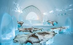 The Ice Hotel. Yup, that's right—a hotel made totally and completely out of ice. And, they rebuild it every winter becauase… yeah, it melts. Glamping, Ice Hotel Sweden, Dancer In The Dark, Ice Bars, Ice Houses, Ice Castles, Winter Destinations, Arctic Circle, Winter Art
