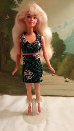 Teal and pink summer dress for Barbie with shoes