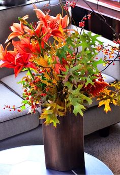 Elements of Fall Centerpiece with Bittersweet Branches from @Sandy   Reluctant Entertainer