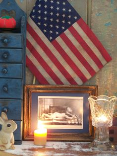 DARLING PRIMITIVE AMERICANA BABY/FLAG/TABLE-COLONIAL/FOLK RE PRINT--VTG FRAME