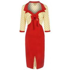 Red and Cream Polka dot wiggle dress.