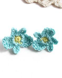 Earrings - Vegan Earrings - Vegan Jewelry - Earrings Studs - Crochet Earrings - Flower Earrings - Stainless Steel Earrings - Mint Earrings by MyPrettyBabi on Etsy