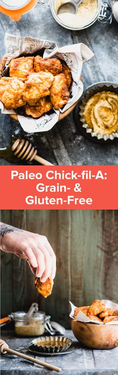 Make this Paleo Chick-fil-A at home for healthier chicken nuggets and a take on the fast food favorite! The secret is in the pickle juice! It's grain-free, gluten-free, paleo and totally kid approved. Paleo Recipes, Whole Food Recipes, Cooking Recipes, Paleo Meals, Free Recipes, Family Recipes, Lunch Recipes, Chick Fil A Recipe, Healthy Chicken Nuggets