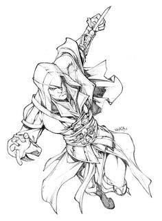 Assassins Creed by Carlos Gomez Assassins Creed Dibujos, Assassins Creed Quotes, Colouring Pages, Adult Coloring Pages, Coloring Books, Coloring Sheets, Cool Sketches, Drawing Sketches, Drawings