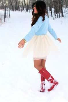 Eleni wearing her red Wellingtons
