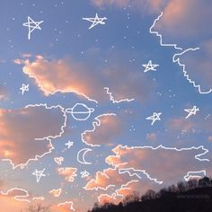 sky, stars, and drawing image