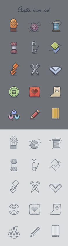 Crafts icon set on Behance
