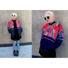GUATEMALAN Patchwork Neon Mexican Aztec Bomber Jacket ($48) ❤ liked on Polyvore