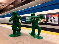 Halloween Makeup Tutorials, Costume Ideas and Party Planning - The Best Halloween Ideas!: Plastic Army Men Costume - Couple has one of the c.