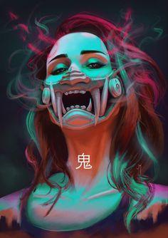 Welcome to /r/Shadowrun, chummer. Here at /r/Shadowrun we talk shop about all things in the shadows. Hanya Mask Tattoo, Hannya Tattoo, Mascara Hannya, Character Art, Character Design, Arte Cyberpunk, Cyberpunk Aesthetic, Samurai Art, Mask Design