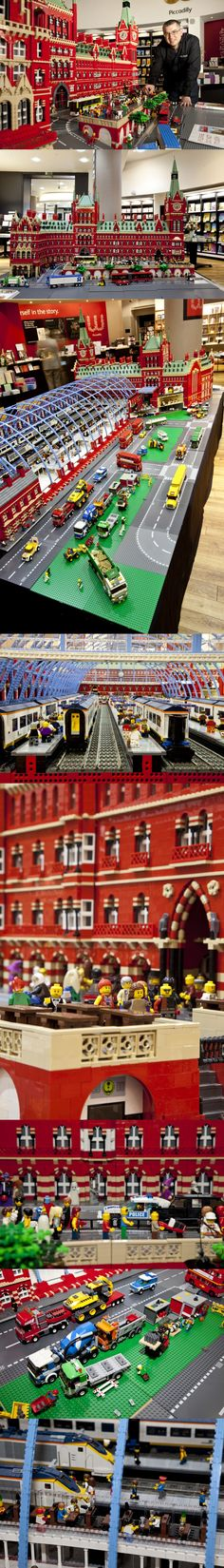 Incredible LEGO St Pancras International Station - Pinned by… Lego City, Van Lego, Lego Lego, Construction Lego, Lego Sculptures, Lego Boards, Amazing Lego Creations, Lego Station, Train Station