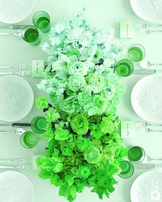 Green table decor by way of beautiful flowers
