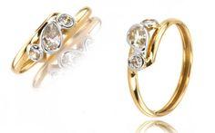 """Zlatý dámsky prsteň v motíve ,,tears"""" slzy 14 K žlté zlato"""