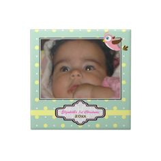 #Mintgreen. #yellow, #pink polka dot with #bird #baby's First Christmas photo #Ceramic #Tiles. #1stChristmas, #firstChristmas, #photogift, #gift, #polkadot, #babygirl, #birdie See more designs here http://www.zazzle.com/zazzleproducts1?rf=238228936251904937=zBookmarklet