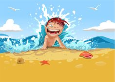XOO Plate :: 5 Cartoon Kids Beach Fun Vector Backgrounds - 5 Cute kids having fun on the beach, splashing in the ocean and making sand castles. Vector backgrounds in EPS format.