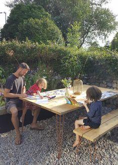 My beautiful copper hairpin garden table. Alice in Scandiland