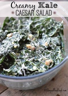 Normally my kids turn their noses up at kale salad but not when it comes to this Creamy Kale Caesar Salad recipe.