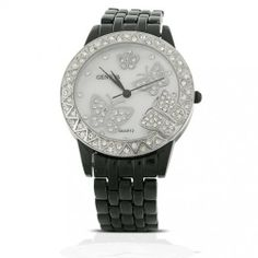 Bling Jewelry Geneva Black Enamel with Mother-of-Pearl Butterfly Watch Geneva. $22.99. Geneva fashion watch. Butterfly design. Black enamel stainless-steel. Crystals accented. Weighs about 84 grams. Save 71% Off!