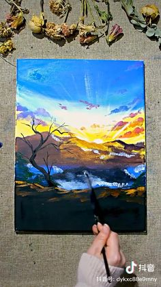 Easy Canvas Art, Small Canvas Art, Easy Canvas Painting, 3d Art Drawing, Art Drawings Sketches Simple, Watercolor Landscape Paintings, Watercolor Art, Canvas Painting Tutorials, Maya Angelou