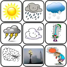 obrázek Kartičky pocasi Weather For Kids, Preschool Weather, Weather Calendar, French Flashcards, Seasons Activities, French Language Lessons, French Classroom, Language Activities, School Gifts