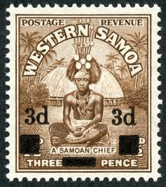 """Samoa  1940 Scott 185 3d on 1½d brown """"Samoan Chief"""".  This stamp, released September 2, 1940, was only issued with surcharge."""