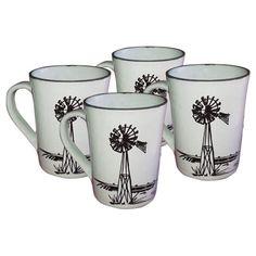 Coffee Mug Set in Country Style with Windmill Print. Coffee Mug Sets, Mugs Set, Windmill, Country Style, Van, Tableware, Rugged Men's Fashion, Dinnerware, Tablewares