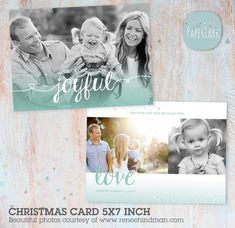 Christmas Card Template  Photoshop template  by PaperLarkDesigns
