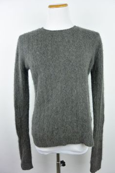 Lauren Ralph Lauren M Medium Gray Crewneck Cashmere Luxury Womens Sweater #933 #LaurenRalphLauren #Crewneck