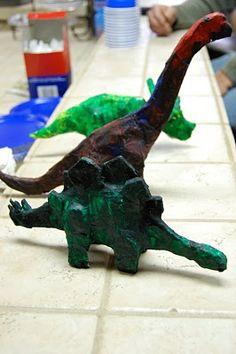 Paper Mache Dinosaur Tutorial with link to Martha Stewart video clip.