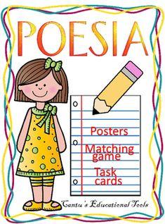 Poesia:  Este producto incluye 16 terminos poeticos (posters, matching cards, and task cards) para ensenar, repasar y practicar.  Los terminos incluidos son los siguientes: aliteracion, metafora, onomatopeya, personificacion, repeticion, ritmo, rima, simil, estrofa, imagenes, metrica, tema, tono, hyperbole, esquema de rima y caracterizacion.