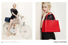 An ad from Louis Vuitton featuring Michelle Williams.