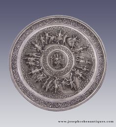 LARGE SILVER TRAY, LUCKNOW, INDIA - LATE 19TH CENTURY