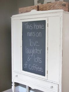 Chalkboard paint over Contact Paper Hutch Makeover Place contact paper and Benjamin Moore blackboard paint ,    easily removed
