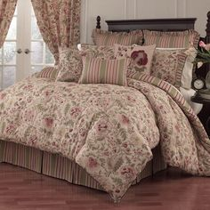 Luxury Bed Linens For Less Waverly Bedding, E Room, Floral Room, Ruffle Bedding, Cozy Bed, Cheap Home Decor, Comforter Sets, Bedroom Decor, Bedroom Ideas