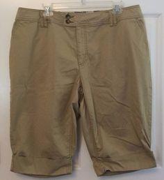 a.n.a. Shorts Size 16W 4 Pocket Khaki Cuffed Button & Zip Fly Cotton Spandex…