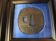 Antique Japanese Samarai Sword Tsuba Guard From the EDO Period Katana Size Framed