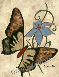 In 2011, Eco-Impressionist Grant Manier created this fourth piece as an addition to his first signature collage series of butterflies.  Using recycled wallpaper, magazines, and fabric paint  Grant used over 2000 pieces of recycled paper to create this art of colorful beauty. http://www.GrantsEcoArt.com