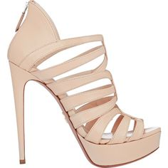 """Prada beige smooth kidskin back-zip platform sandals styled with a strappy vamp and sky-high stiletto heel. 5.25""""/135mm heel (approximately). Open toe, covered…"""