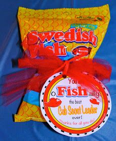 """Akela's Council Cub Scout Leader Training: Swedish Fish PRINTABLE Leader Gift - """"You're o-FISH-ally the best Cub Scout Leader ever! Thanks for all you do!"""" - Perfect for the Blue & Gold Banquet"""