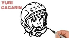 How to Draw Yuri Gagarin an Astronaut - First Human in the Space Easy Drawings For Beginners, Space Race, First Humans, Astronaut, Yuri, Astronauts