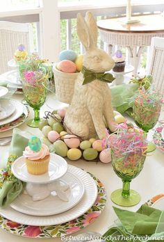 Easter Table Setting  for Springtime by Between Naps on the Porch