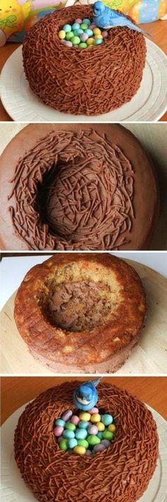 Kuchenidee für #Ostern #Osternest #DIY Delicious Easter Bird Nest Cake