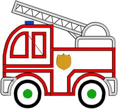 Applique Fire Truck EMS FiremanToy Machine Embroidery Design Pattern 3 hoop sizes.