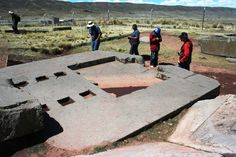Puma Punku, Bolivia:  Huge andesite slab with precise surfaces