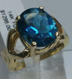 Vintage Handcrafted 14 K Yellow Gold 6.00 Carat faceted Oval Blue Spinel Ring #Handmade #Cocktail #Anniversary